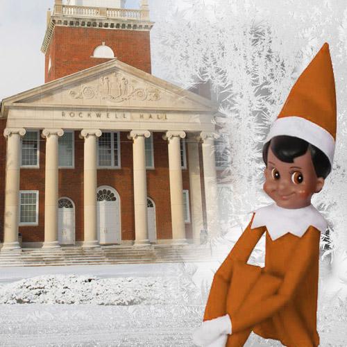 Cleveland, the Alumni Association's Elf on the Shelf doll